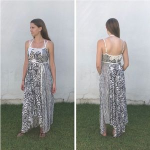 FREE PEOPLE ONE Printed Trapeze Flowy Maxi Dress S